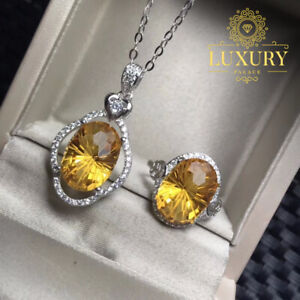 Natural Citrine 7Ct Gemstone Solid 925 Sterling Silver Luxury Women Jewelry Set