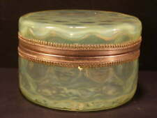 ~Antique Vaseline Glass Coin Spot Jewelry Casket Trinket Powder Jar Hinged Box`