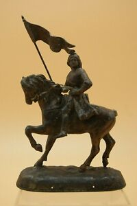 † JOAN OF ARC SCULPTURE STATUE FIGURE After PERRON CHARLES (1862-1934) FRANCE †