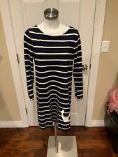 J. Crew Navy Blue & White Striped Dress W/ Anchor, Size Medium