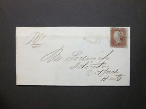 Hertfordshire QV 1d red Wrapper 835 Numeral & No.1 (Waltham Abbey) RH to Watford