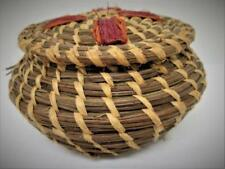 Vintage Pine Needle Straw Hand Woven Miniature Primitive Folk Art Basket w/ Lid
