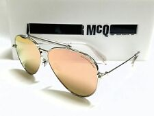Authentic Alexander McQueen AM0057S 005 Silver/Pink Mirror Lens 62mm Sunglasses