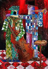 """CUBAN ART #233 ** YONEL** CASA DE LA MUSICA II 28X40"""" SIGNED ON CANVAS"""
