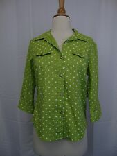 Karen Scott Petite 3/4 Sleeve Button Down Shirt Lime Green Polka Dot PS #3368