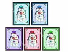 Snowman Christmas Embellishments Card Making Toppers, Craft Crafting x 5