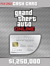 Grand Theft Auto V Online White Shark Cash Card $1,250,000 [Playstation 4, DLC]