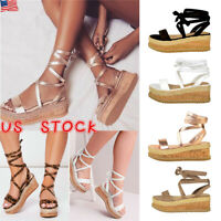 US Women Flat Wedge Espadrilles Ankle Strappy Summer Lace Up Sandals Shoes Size