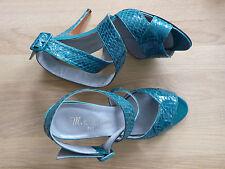 M.S.Almeida high heels Stöckel Sandaletten Gr.39 Komplettleder getragen vintage!