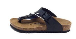 Birkenstock Unisex Kids Gizeh Slide Flat Sandals Black Leather Size 1 M