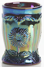Black Amethyst Carnival Glass Dahlia Pattern Tumbler - Mosser USA
