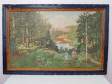 1950 Vintage Old Hand Oil Painting on Canvas Wooden Picture Frame Signed 35 x 24