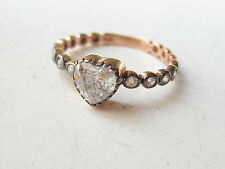925 Sterling Silver Rose Gold Plated Turkish White Topaz Heart Ring Sz 8