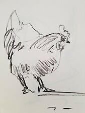 JOSE TRUJILLO Original Charcoal Paper Sketch Drawing 9X12 CHICKEN ABSTRACT
