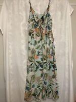 City Chic Women's Plus Size 24 XXL Floral Maxi Chiffon Dress Green NWT