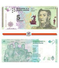 """Argentina 5 Pesos 2015 Unc pn 359a suffix """"B"""" José De San Martin 1778-1850"""