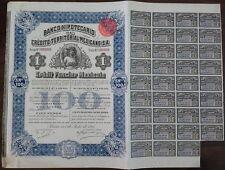 Mexico Mexican 1911 Banco Hipotecario Queen Victoria 100 Pesos UNC Bond Share