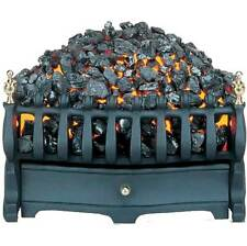 Electric fire Basket Black with Flicker Coal Bed Effect with Brass elements.