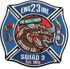 "*NEW*  Detroit  Engine - 23 / Squad - 3, Michigan (4"" x 4"" size) fire patch"