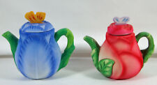 BEAUTIFUL MINIATURE TEAPOTS - AVON SEASON'S TREASURES - 1995 - ROSE AND TULIP