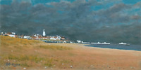 "Southwold UK Oil Painting, Original East Anglian coastal Art, Framed 10"" x 19"""