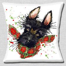 "Black Scotty Dog Wearing Tartan Scarf Red/Green White 16"" Pillow Cushion Cover"