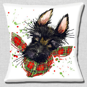 "Black Scotty Dog Wearing Tartan Scarf Red/Green White 16"" Pillow Cushion Cover"