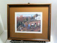 MAKING APPLE BUTTER Framed Print Queena Stovall Americana Folk Art Homesteading