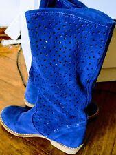 Botas de piel azul talla 37