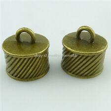 15836 10PCS Alloy Bronze Cord End Tip 16.5mm Beads Tassel Caps End Charm