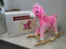 PINK SOFT FUR ROCKING HORSE BOXED NEW WITH SOUND GIRLS GIFT PINK HORSE NEW
