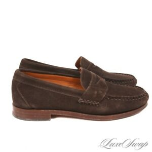 SOLID Allen Edmonds 50022 Cavanaugh Cigar Suede Penny Loafers Shoes USA 9 D NR
