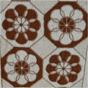 Vintage Retro 1970s Brown White Flower Power Floral Hand Towel