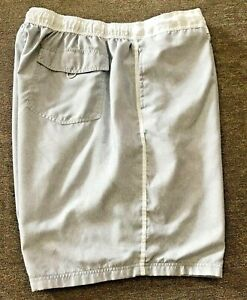 OP Brand Mens Size 3XL  Swim Shorts Gray & White with pockets