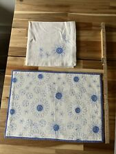 More details for crate & barrel placemat napkin set of 6 embroidered blue sunflower & cream