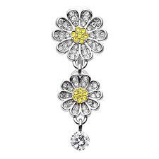 Daisy Glam Multi-Gem Reverse Belly Ring Dangle Navel Body Jewelry CZ Silver Gold
