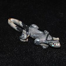 """Zunie Fetish Lizard by Karen Zuni, Picasso Marble w/Turquoise, 2.75""""L"""