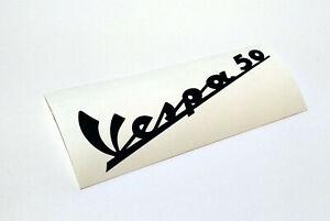Vespa Schriftzug Aufkleber V 50 N S L R 1. Serie Beinschild Emblem Dunkelblau