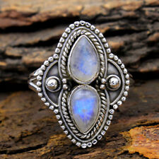 HandMade Jewelry Blue MOONSTONE Gemstone 925 Sterling Silver Ring us 7.5
