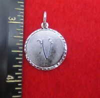 14KT WHITE GOLD EP LETTER V ROUND INITIAL DISC CHARM  WAS $8.95