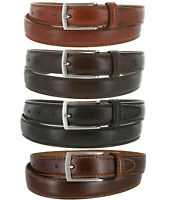 "S5549 - Made in Italy Mens Italian Dress Belt, 1-1/8"" Wide Black Brown Tan"