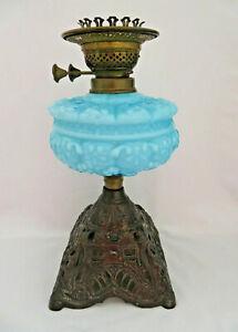 Duplex England Blue Opaline Glass & Cast Metal Base Oil Lamp ~ Converted Candle