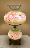 VTG Gone With The Wind Style Table Lamp Hand Painted Avocado Green Pink Roses