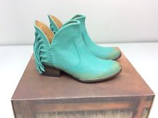 Corral Q0005 Cowboy Western Bootie Boots Turquoise Fringe Size 7.5 Ankle Short