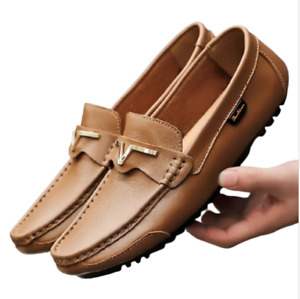 UK5-10 Men Driving Casual Boat Shoes Faux Leather Shoes Moccasin Slip On Loafer