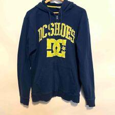 DC Shoes Mens Hoodie Navy Blue Yellow Spellout Logo Full Zip Front Sweatshirt XL