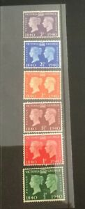 Great Britain 1940 Stamp Centenary Set of Six Mint.