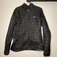 Patagonia Womens Micro Puffer Jacket Black Zip Pockets Insulated Mock Neck M