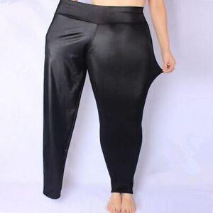 2018 New Hot Women Sexy Leggings Black Hip Wet Look Faux Leather Plus Size