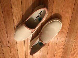 Coach Slip On Ladies Leather Sneaker Shoe Cream/Pink NWOB Size 8